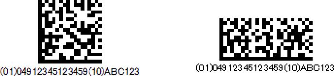 長方形と正方形のGS1データマトリックスシンボル例